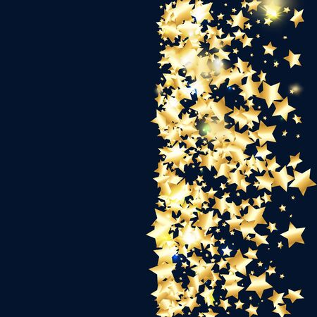 Gold star confetti on black background.  Minimalistic fallen particle. Holiday vector colorful confetti. Sparkle bright decoration backdrop. Surprise card template