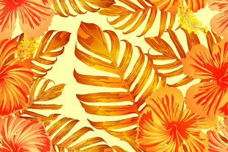 Orange yellow exotic pattern. Monstera and hibiscus flowers tropical bouquet.  Saturated large floral swimwear print. Horizontal romantic wild vector exotic tile. Hypernatural botanic design.