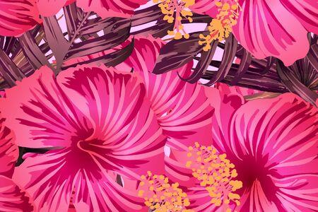 Rosarotes exotisches Muster. Monsterablätter und Hibiskusblüten im Sommerdruck. Hawaiianisches T-Shirt und Badebekleidungsfliese. Horizontales kalifornisches natürliches Texturdesign. Hypernatürliches botanisches Design.