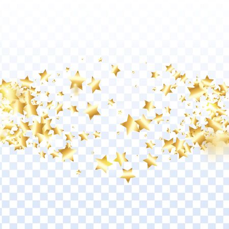 Gold star confetti on transparent background.  Flying shiny sparkle shower. Abstract vector colorful confetti. Birthday party backdrop. New Year card template Vettoriali