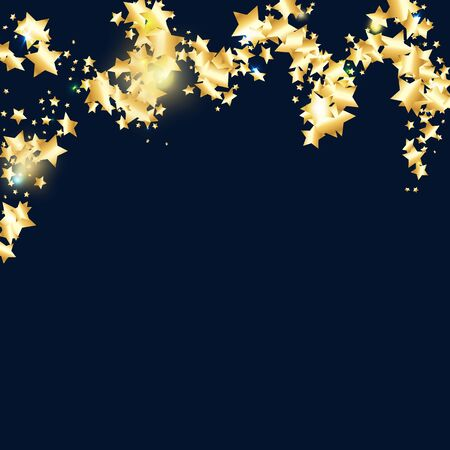 Gold star confetti on black background. Flying shiny sparkle particles. Holiday vector colorful confetti. Birthday party backdrop. Christmas card template