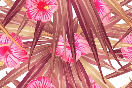 Pink red exotic pattern. Monstera leaves and hibiscus flowers in summer print.  Saturated large floral swimwear print. Horizontal romantic wild vector exotic tile. Hypernatural botanic design. Ilustração