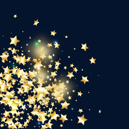 Gold star confetti on black background.  Flying shiny sparkle particles. Abstract vector colorful confetti. Sparkle bright decoration backdrop. New Year card template