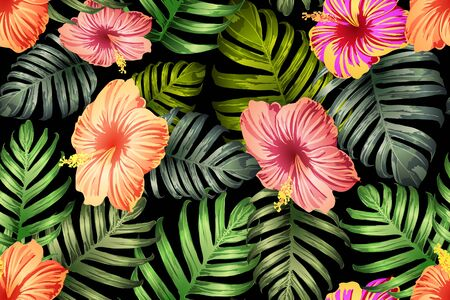 Green red exotic pattern. Monstera and hibiscus flowers tropical bouquet.  Saturated large floral swimwear print. Horizontal california natural texture design. Hypernatural botanic design.