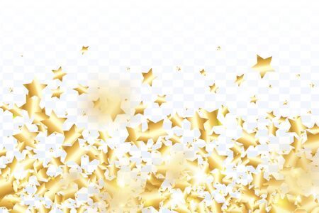 Gold star confetti on transparent background.  Flying shiny sparkle shower. Abstract vector colorful confetti. Sparkle bright decoration backdrop. Christmas card template Ilustração