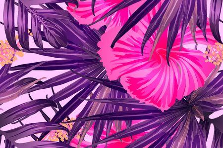 Pink red exotic pattern. Monstera leaves and hibiscus flowers in summer print.  Hawaiian t-shirt and swimwear tile.  Horizontal romantic wild vector exotic tile. Hypernatural botanic design. Ilustração
