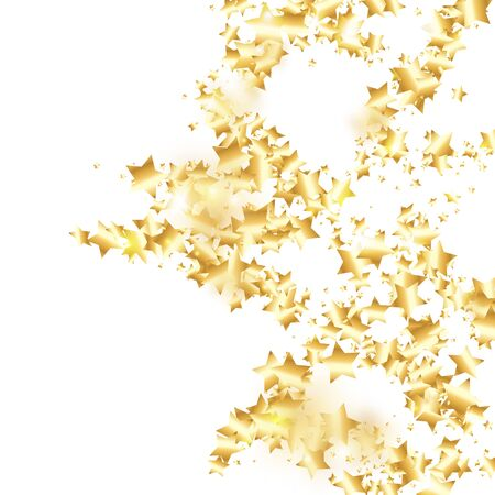 Gold star confetti on white background. Flying shiny sparkle shower. Abstract vector colorful confetti. Birthday party backdrop. Christmas card template