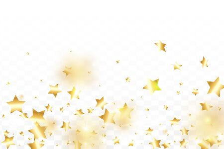 Gold star confetti on transparent background.  Flying shiny sparkle shower. Holiday vector colorful confetti. Sparkle bright decoration backdrop. Surprise card template Ilustração