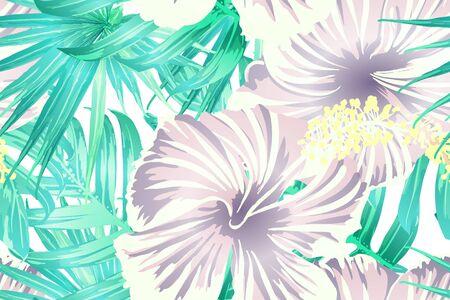 Cyan exotisches Muster. Monsterablätter und Hibiskusblüten im Sommerurlaubsdruck Hawaiianisches T-Shirt und Badebekleidungsfliese. Horizontale romantische wilde Vektor exotische Fliese. Hypernatürliches botanisches Design.