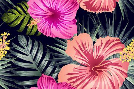 Grünes rotes exotisches Muster. Monstera und Hibiskusblüten tropisches Bouquet. Hawaiianisches T-Shirt und Badebekleidungsfliese. Horizontale romantische wilde Vektor exotische Fliese. Bonny Frühlingsbotanisches Design.