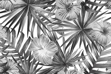 Black white exotic pattern. Monstera leaves and hibiscus flowers in summer print.  Saturated large floral swimwear print. Horizontal california natural texture design. Bonny spring botanical design.  イラスト・ベクター素材