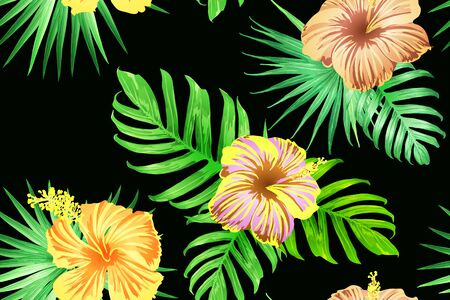 Green red exotic pattern. Monstera and hibiscus flowers tropical bouquet.  Saturated large floral swimwear print. Horizontal california natural texture design. Bonny spring botanical design.