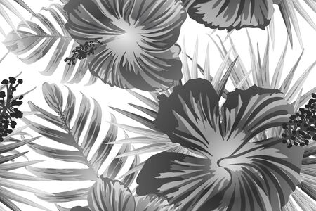 Black white exotic pattern. Monstera and hibiscus flowers tropical bouquet.  Saturated large floral swimwear print. Horizontal california natural texture design. Bonny spring botanical design.