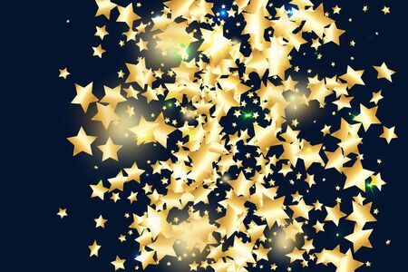 Gold star confetti on black background. Flying shiny sparkle shower. Holiday vector colorful confetti. Birthday party backdrop. Surprise card template