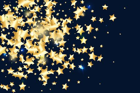 Gold star confetti on black background.  Flying shiny sparkle particles. Abstract vector colorful confetti. Sparkle bright decoration backdrop. Surprise card template