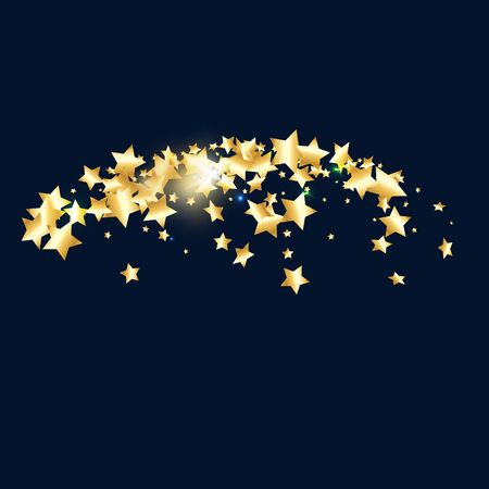 Gold star confetti on black background.  Minimalistic fallen particle. Abstract vector colorful confetti. Sparkle bright decoration backdrop. Christmas card template Vettoriali