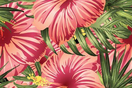 Green red exotic pattern. Monstera and hibiscus flowers tropical bouquet.  Hawaiian t-shirt and swimwear tile.  Horizontal california natural texture design. Hypernatural botanic design.