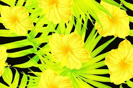 Yellow exotic pattern. Monstera leaves and hibiscus flowers in summer print.  Saturated large floral swimwear print. Horizontal california natural texture design. Hypernatural botanic design.