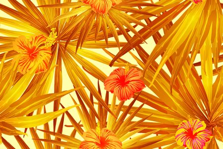 Orange yellow exotic pattern. Monstera leaves and hibiscus flowers in summer print.  Hawaiian t-shirt and swimwear tile.  Horizontal california natural texture design. Bonny spring botanical design.