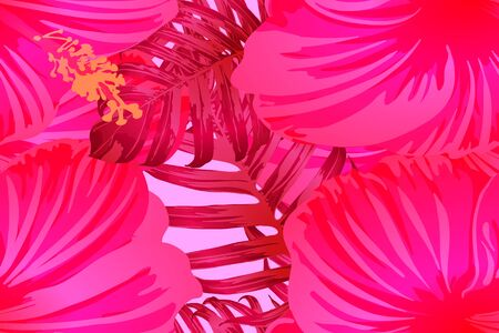 Pink red exotic pattern. Monstera and hibiscus flowers tropical bouquet.  Saturated large floral swimwear print. Horizontal romantic wild vector exotic tile. Bonny spring botanical design.