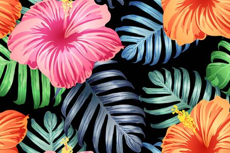 Green red exotic pattern. Monstera and hibiscus flowers tropical bouquet. Saturated large floral swimwear print. Horizontal romantic wild vector exotic tile. Bonny spring botanical design.