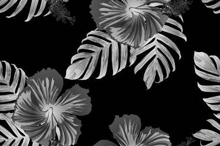 Black white exotic pattern. Monstera and hibiscus flowers tropical bouquet.  Hawaiian t-shirt and swimwear tile.  Horizontal california natural texture design. Hypernatural botanic design.