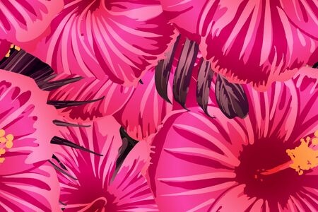 Pink red exotic pattern. Monstera leaves and hibiscus flowers in summer print.  Saturated large floral swimwear print. Horizontal romantic wild vector exotic tile. Hypernatural botanic design. Ilustracja
