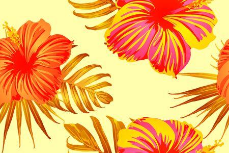 Orange yellow exotic pattern. Monstera leaves and hibiscus flowers in summer print.  Hawaiian t-shirt and swimwear tile.  Horizontal romantic wild vector exotic tile. Hypernatural botanic design.