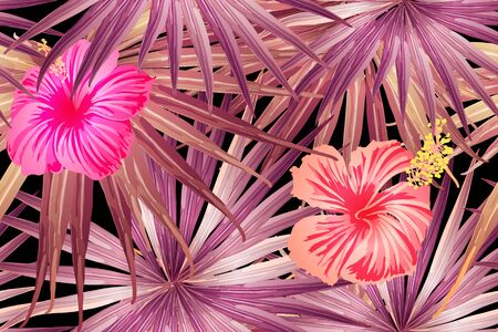 Pink red exotic pattern. Monstera and hibiscus flowers tropical bouquet.  Saturated large floral swimwear print. Horizontal california natural texture design. Hypernatural botanic design.