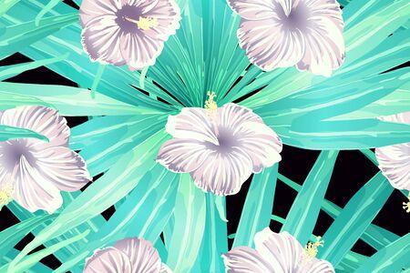 Cyan exotic pattern. Monstera leaves and hibiscus flowers in summer holiday print. Hawaiian t-shirt and swimwear tile.  Horizontal romantic wild vector exotic tile. Hypernatural botanic design.