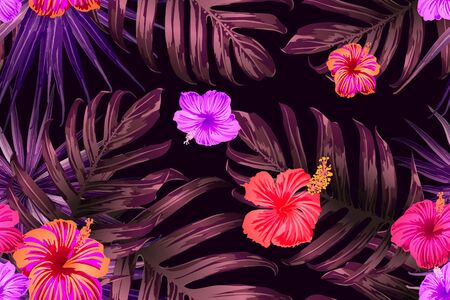 Pink red exotic pattern. Monstera and hibiscus flowers tropical bouquet.  Saturated large floral swimwear print. Horizontal romantic wild vector exotic tile. Hypernatural botanic design.