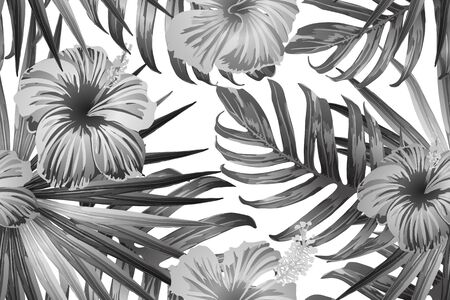 Black white exotic pattern. Monstera leaves and hibiscus flowers in summer print.  Saturated large floral swimwear print. Horizontal romantic wild vector exotic tile. Bonny spring botanical design. Ilustracja