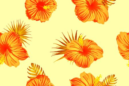 Orange yellow exotic pattern. Monstera leaves and hibiscus flowers in summer print.  Saturated large floral swimwear print. Horizontal california natural texture design. Bonny spring botanical design.