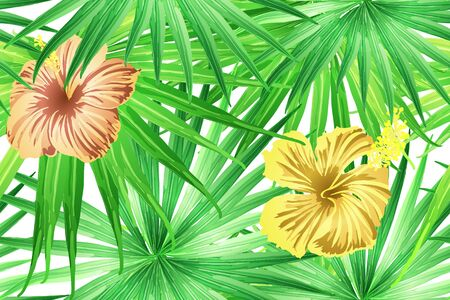 Green yellow exotic pattern. Monstera and hibiscus flowers tropical bouquet.  Saturated large floral swimwear print. Horizontal california natural texture design. Hypernatural botanic design.