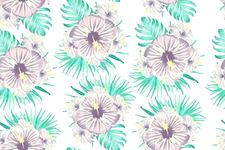 Cyan exotic pattern. Monstera and hibiscus flowers tropical bouquet. Saturated large floral swimwear print. Horizontal california natural texture design. Bonny spring botanical design. Ilustracja