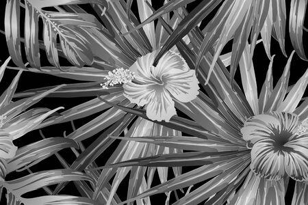 Black white exotic pattern. Monstera leaves and hibiscus flowers in summer print.  Hawaiian t-shirt and swimwear tile.  Horizontal california natural texture design. Bonny spring botanical design. Ilustracja