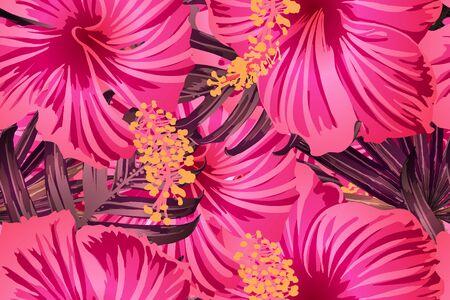 Pink red exotic pattern. Monstera leaves and hibiscus flowers in summer print.  Hawaiian t-shirt and swimwear tile.  Horizontal california natural texture design. Hypernatural botanic design. Ilustracja