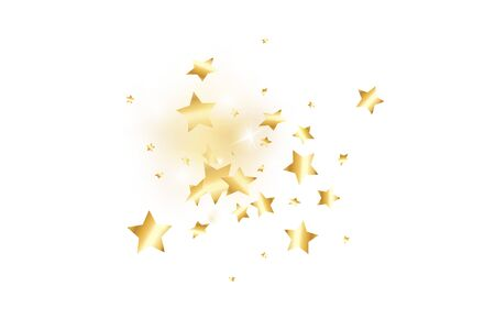 Gold star confetti on white background.  Flying shiny sparkle shower. Holiday vector colorful confetti. Birthday party backdrop. Surprise card template