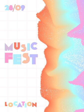 Music cover in blue, violet, pink, green colors. Rock concert flyer. Minimal line brochure. Soundwave layout. Abstract summer gradient. Promotion party ads. Vintage wave template. Ilustrace