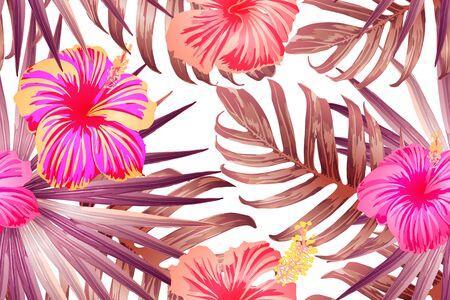 Pink red exotic pattern. Monstera and hibiscus flowers tropical bouquet.  Hawaiian t-shirt and swimwear tile.  Horizontal california natural texture design. Hypernatural botanic design.