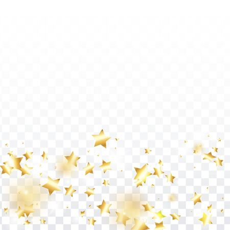 Gold star confetti on transparent background.  Flying shiny sparkle shower. Holiday vector colorful confetti. Sparkle bright decoration backdrop. Christmas card template Ilustrace