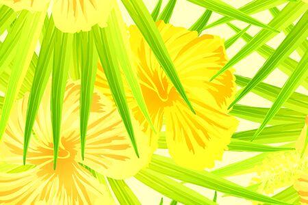 Yellow exotic pattern. Monstera and hibiscus flowers tropical bouquet.  Hawaiian t-shirt and swimwear tile.  Horizontal california natural texture design. Bonny spring botanical design.