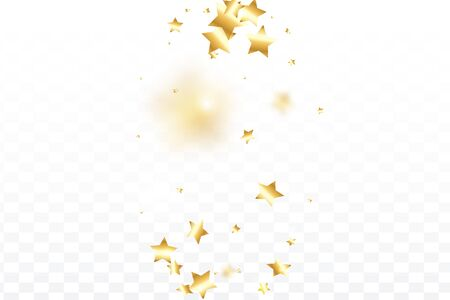 Gold star confetti on transparent background.  Flying shiny sparkle particles. Abstract vector colorful confetti. Sparkle bright decoration backdrop. Surprise card template