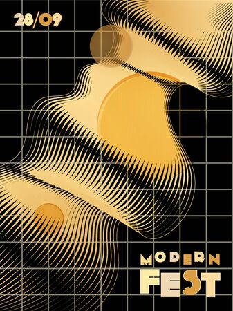 Music cover in gold, yellow, copper colors. Radio concert flyer. Minimal line brochure. Sound background. Geometric audio cover. Creative party advertise. Vintage wave template.