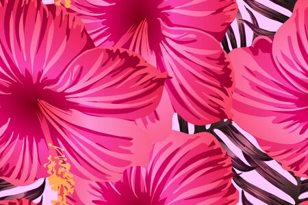 Pink red exotic pattern. Monstera leaves and hibiscus flowers in summer print.  Saturated large floral swimwear print. Horizontal california natural texture design. Bonny spring botanical design. Ilustrace