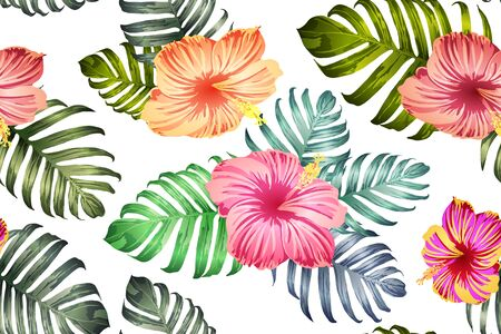 Green red exotic pattern. Monstera leaves and hibiscus flowers in summer print.  Saturated large floral swimwear print. Horizontal california natural texture design. Bonny spring botanical design.