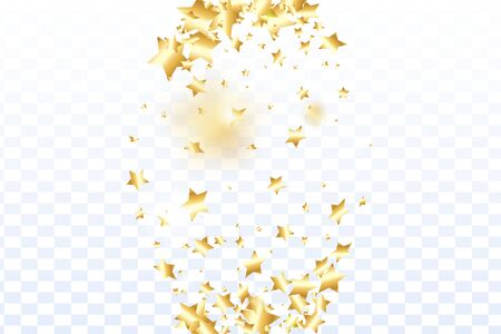 Gold star confetti on transparent background.  Minimalistic fallen particle. Abstract vector colorful confetti. Birthday party backdrop. Surprise card template