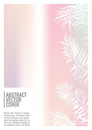 Holographic cover. Iridescent geometric minimal brochure. Holo retro background. Foil simple flyer. Exotic plants backdrop. Fun fluid backdrop. Geometric retro brochure. Foil card.