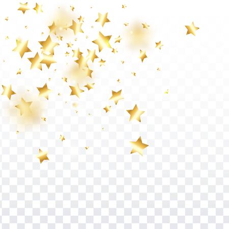 Gold star confetti on transparent background.  Flying shiny sparkle particles. Holiday vector colorful confetti. Sparkle bright decoration backdrop. New Year card template
