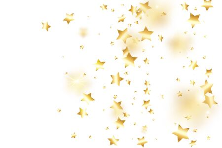Gold star confetti on white background.  Flying shiny sparkle particles. Holiday vector colorful confetti. Birthday party backdrop. New Year card template Ilustrace